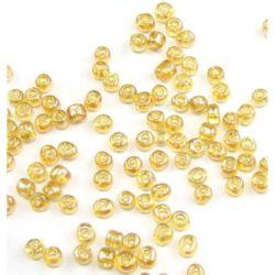 Γυάλινες χάντρες seed 4 mm διαφανές καραμέλα περλέ -50 γραμμάρια