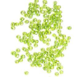 Γυάλινες χάντρες seed 3 mm διαφανές πράσινο περλέ 1 -50 γραμμάρια