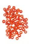 Мъниста стъклена 3 мм прозрачна перлена тъмно червена -50 грама