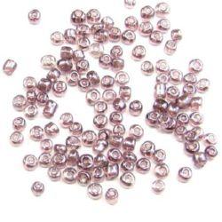 Γυάλινες χάντρες seed 3 mm διαφανές περλέ ανοιχτό μωβ -50 γραμμάρια