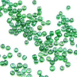 Margele de sticlă 3 mm transparent perlă verde 3 -50 grame