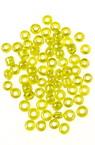 Мъниста стъклена 3 мм прозрачна перлена жълта -50 грама