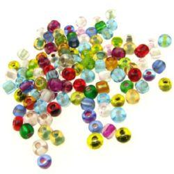 Мъниста стъклена 4 мм прозрачна с нишка цветна -50 грама