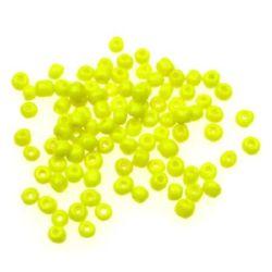 Мъниста стъклена 4 мм плътна жълта -50 грама