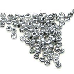Мъниста стъклена 3 мм метализе сребро -50 грама