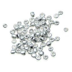 Мъниста стъклена 4 мм метализе сребро -50 грама