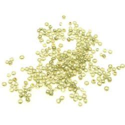 Margele de sticlă 2 mm pictat în galben pal -50 grame