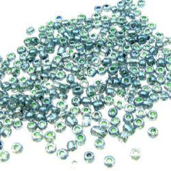 Мъниста стъклена 2 мм боядисана морско синьо -50 грама