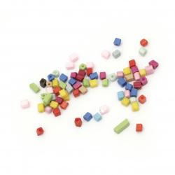 Margele sticla  cub   3 ~ 7x3x3 mm gaură 0,5 mm mix -20 grame