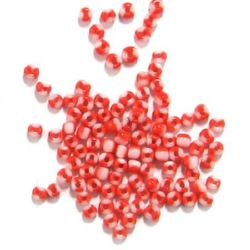 Мъниста стъклена 2 мм двоен цвят бяло и червено -50 грама