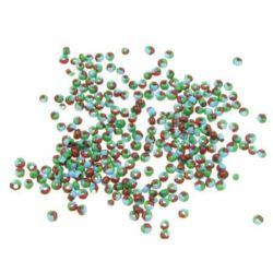 Мъниста стъклена 2 мм троен цвят червено, синьо, зелено -50 грама
