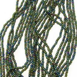 Мъниста стъклена 2 мм ирис зелена чешка -12 връзки ~36 грама ~4550 броя