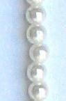 Perlă din plastic cu șnur albă de 6mm ~ 150 buc