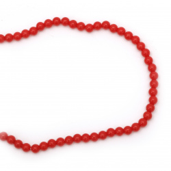 String beads plastic pearl 6 mm color red ~ 150 pieces