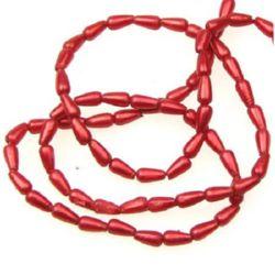 Șir de perle 3x6 mm picătură roșu-min.12buc