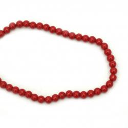 Наниз мъниста стъкло перла 8 мм дупка 1 мм червена -90 см ~110 броя