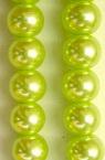 Наниз мъниста стъкло перла 8 мм светло зелена -120см