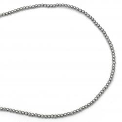 Наниз мъниста стъкло перла 6 мм дупка 1 мм сива светло ~80см ~140 броя