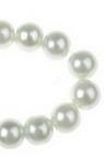 Наниз мъниста стъкло перла 10 мм дупка 1 мм бяла ~80 см ~85 броя