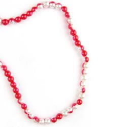 Наниз мъниста стъкло перла 8 мм бяло и червено -80см ~100 броя