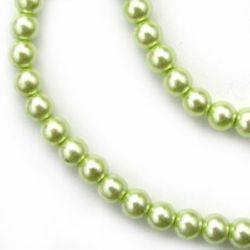 Painted glass pearl round beads string for arts & crafts or jewelry making projects 6 mm green melon ~ 80 cm ~ 140 pieces