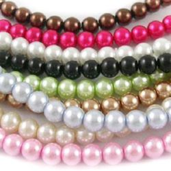 Pearl glass beads  strand, shiny ball 10 mm assorted colors ~ 90 cm ~ 85 pieces