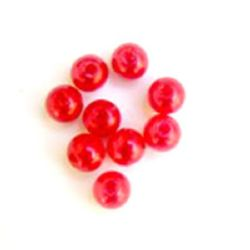 Plastic Pearls 6 mm ABS 1st quality red -50 grams ~ 460 pieces