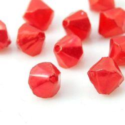 Perlă 5,5x5,5 mm dublu piramidă roșie -50 grame