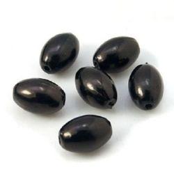 Perlă perlată ovală 11x7,5 mm gaură 2 mm culoare negru -20 grame ~ 55 buc