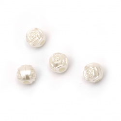 Beaded pearl ball rose 9x8x9 mm hole 3 mm color cream -50 pieces