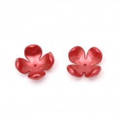Flower pearl hat 23x23x11 mm hole 2 mm color red dark - 10 pieces