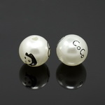 Faux Pearl Beads 16 mm hole 2 mm painted white