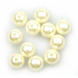 Στρόγγυλη χάντρα απομίμηση μαργαριταριού 8mm τρύπα 2 χιλιοστά κρεμ -50  γραμμάρια ~ 190 τεμάχια