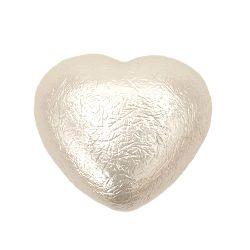 Сърце перлено 25x29x14 мм дупка 3~4 мм ABS бяло -4 броя