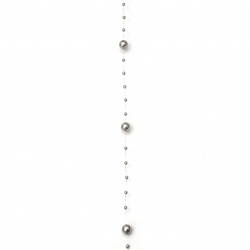 Garland with pearl plastic 3 ~ 8 mm gray - 1 meter