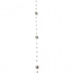 Ghirlandă din plastic perlat de 3 ~ 8 mm gri - 1 metru