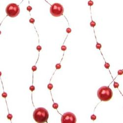 Decoration with plastic pearl 8 mm cream color - 1 meter 3 ~ 8 mm red ~ 121 pieces -130 cm