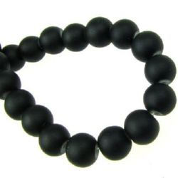 Rubber round glass beads, ball shaped string for DIY jewelry findings 8 mm hole 1 mm black ~ 80 cm ~ 105 pieces