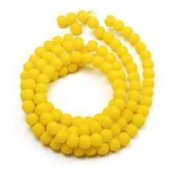 Rubber round glass beads string for DIY jewelry findings 8 mm hole 1~1.5 mm yellow ~ 80 cm ~ 105 pieces
