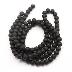 Matte round glass beads strands, rubber balls for jewelry necklace craft making 14 mm hole 1~1.5mm  black ~ 80 cm ~ 60 pieces
