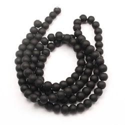Наниз мъниста стъкло топче 14 мм дупка 1~1.5 мм гумирано черно ~80 см ~60 броя