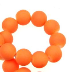 Glass round rubber  beads string for jewelry making, DIY fringes of beads 10 mm neon orange ~ 80 cm ~ 85 pieces