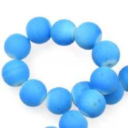 Matte glass round beads strand for DIY accessories like key chains, bracelets or necklace 10mm hole 1.3~1.6mm rubberized blue ~ 80cm ~ 85 pieces