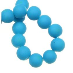 Glass beads with a synthetic rubber coating, round ball strand for jewelry making and DIY home art projects 10 mm hole 1.3±1.6 mm blue-turquoise ± 80 cm ± 85 pieces