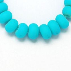 Matte glass rubber washer beads strand for DIY accessories like key chains, bracelets or necklace 8x6 mm  blue ~ 80 cm ~ 150 pieces