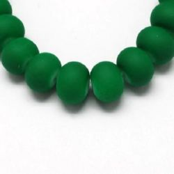Rubber washer glass beads strand for DIY necklaces, bracelets and garment accessories 8x6 mm green ~ 80 cm ~ 150 pieces