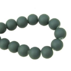 Round glass rubber beads string for vintage jewelry making or DIY home decor ideas 8 mm gray ~ 80 cm ~ 105 pieces