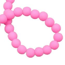 String glass beads, rubber ball for arts & crafts or jewelry making projects 6 mm pink ~ 80 cm ~ 140 pieces