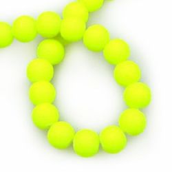 String glass rubber ball beads for arts&crafts projects 6 mm electric yellow ± 80 cm ± 140 pieces