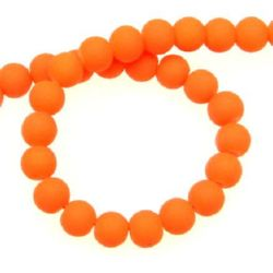 String dyed color glass rubber beads, matte ball 6 mm orange ~ 80 cm ~ 140 pieces
